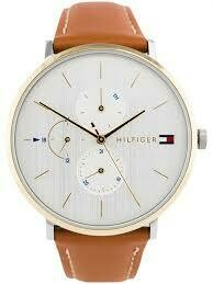 TH GOLD DETAILING BROWN STRAP WATCH