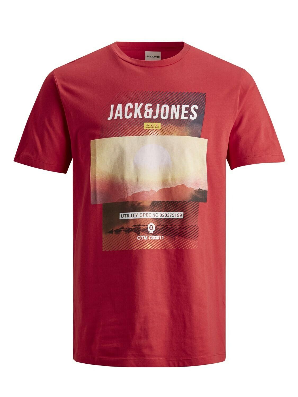 JACK&JONES JCOFRIDAY-DISC TEE SS CREW NECK FRIDAY TEE CHINESE RED