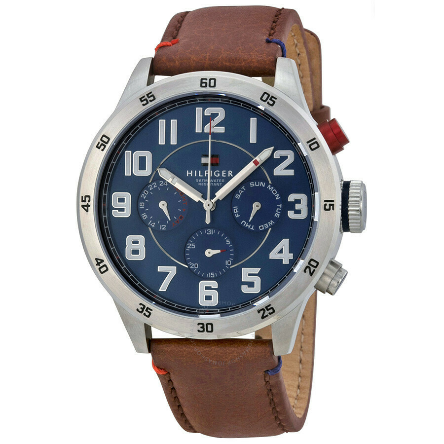 TH TRENT BROWN LEATHER STRAP WATCH