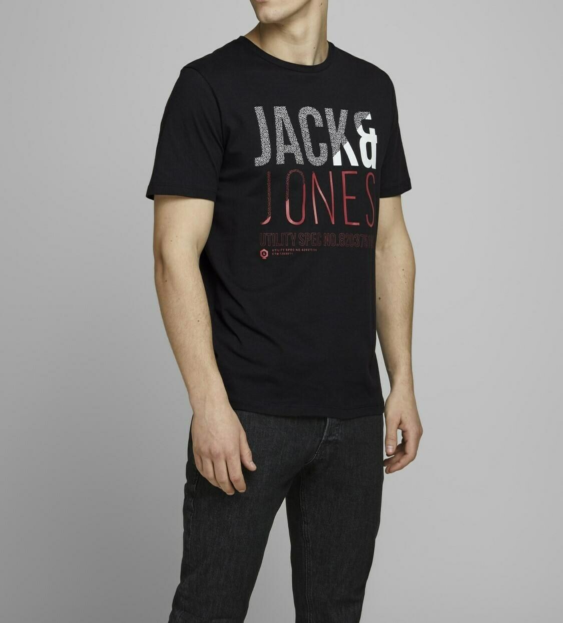 JACK&JONES JCOFOKE TEE SS CREW NECK BLACK