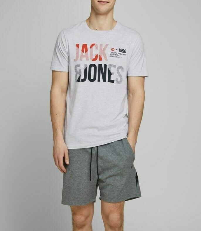 JACK&JONES JCOFOKE TEE SS CREW NECK FST GREY/WHITE MELANGE