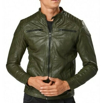 JACK&JONES JJELIAM LEATHER JACKET DARK KHAKI/ROSIN