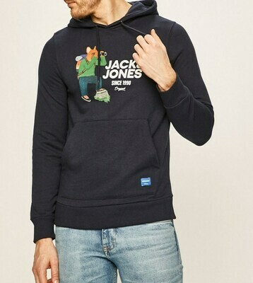 JACK&JONES JORFRENCHIE SWEAT HOOD NAVY BLAZER