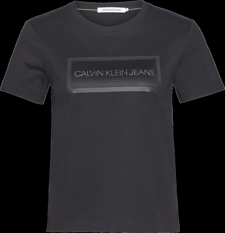 CALVIN KLEIN METALLIC LOGO MESH STRAIGHT T-SHIRT