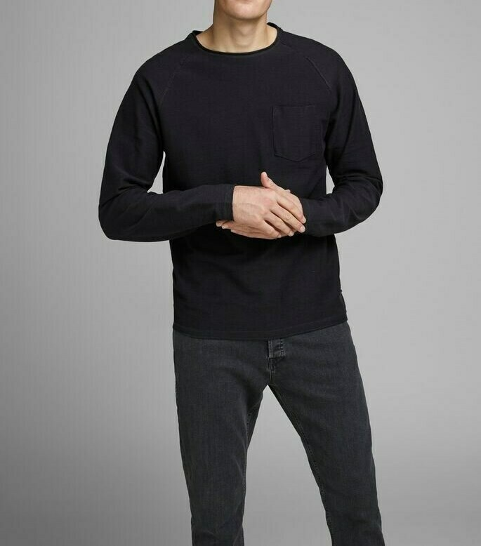 JACK&JONES JJETERRY SWEAT O-NECK BLACK