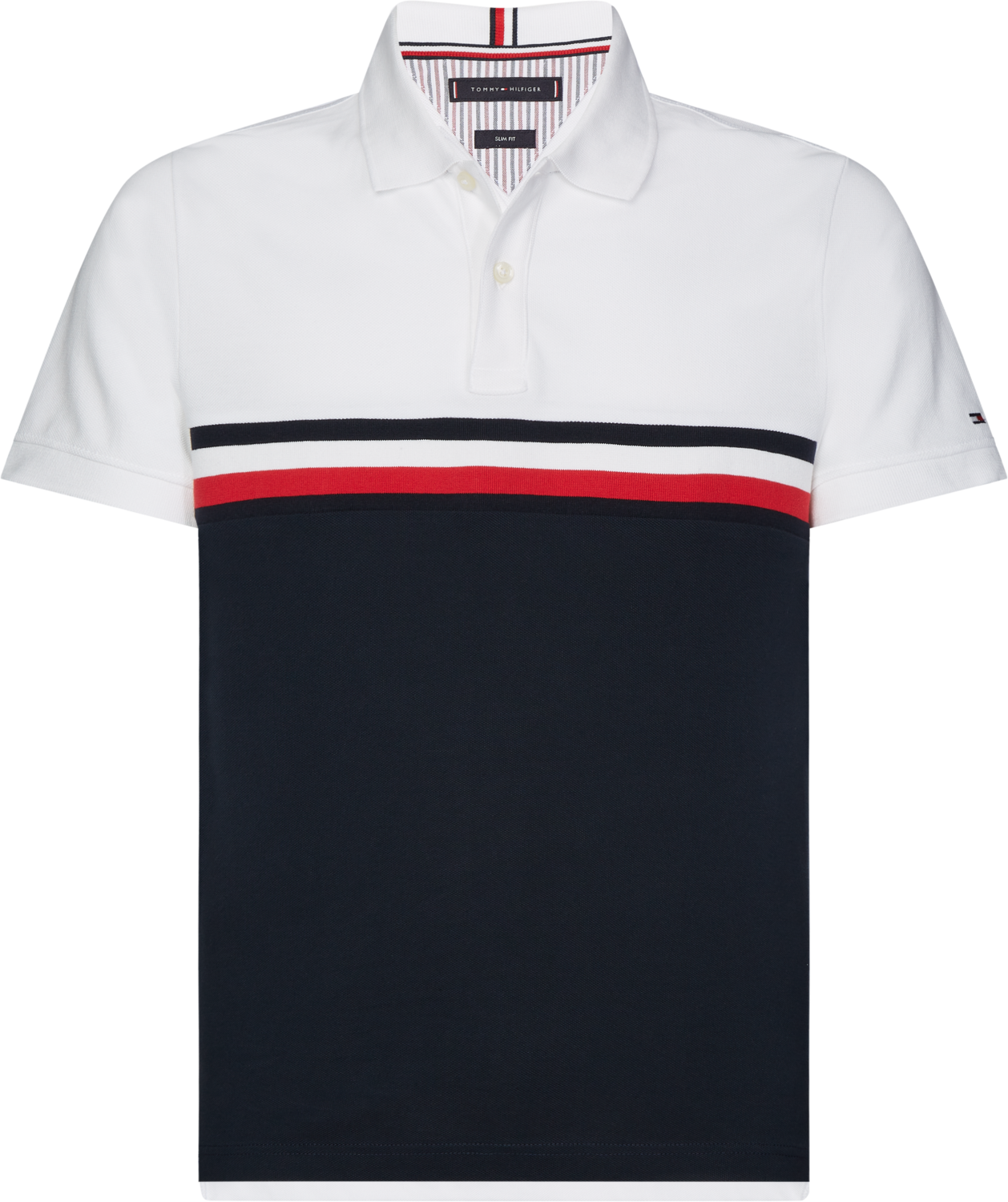 TOMMY GS INSERT COLORBLOCK SLIM POLO WHITE/MULTI