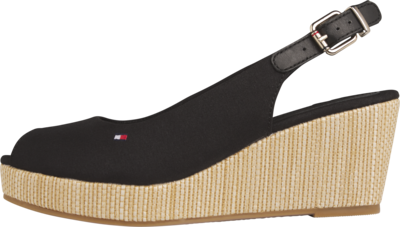 TOMMY ICONIC ELBA SLING BACK WEDGE BLACK