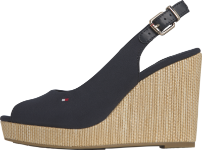 TOMMY ICONIC ELENA SLING BACK WEDGE BLACK