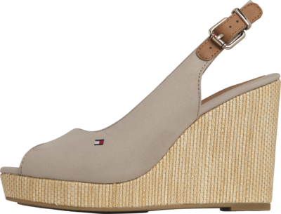 TOMMY ICONIC ELENA SLING BACK WEDGE STONE