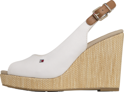 TOMMY ICONIC ELENA SLING BACK WEDGE IVORY