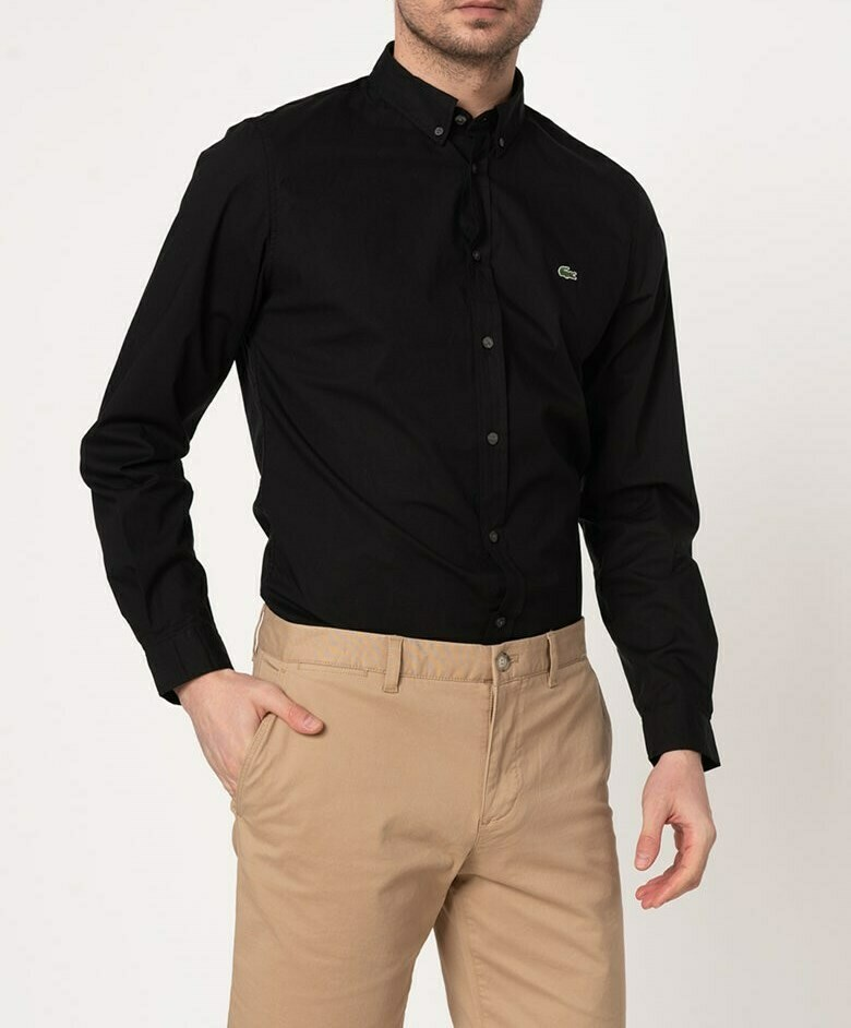 LACOSTE CHEMISE CASUAL MANCHES LO BLACK