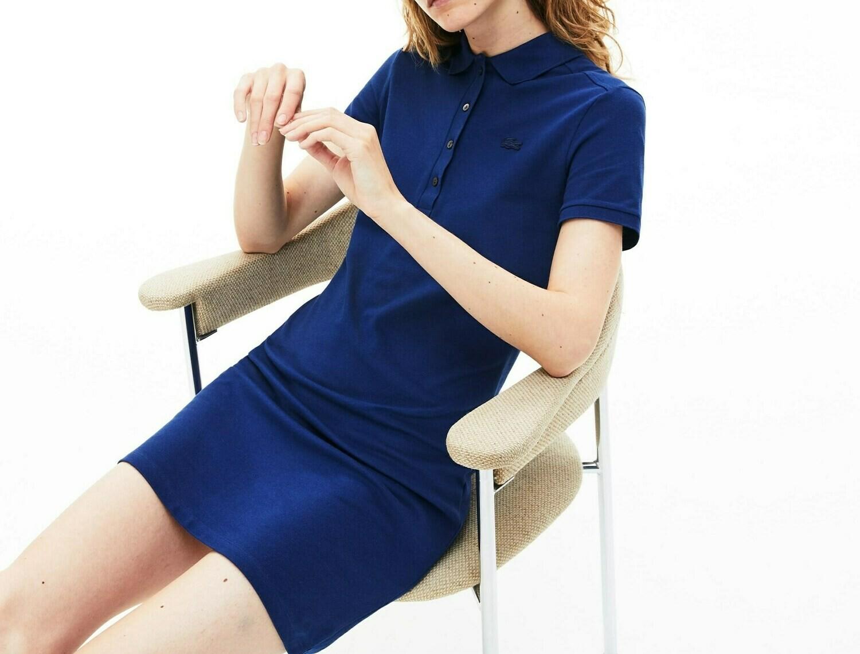 STRETCH COTTON PIQUE' POLO DRESS BLUE