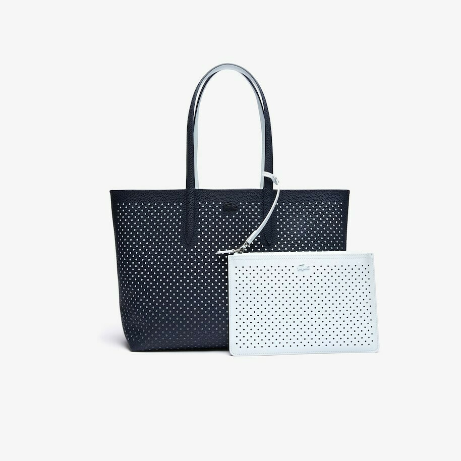 LACOSTE ANNA REMOVABLE POUCH PRFORATED SHOPPING BAG DARK SAPPHIRE ILLUSION BL