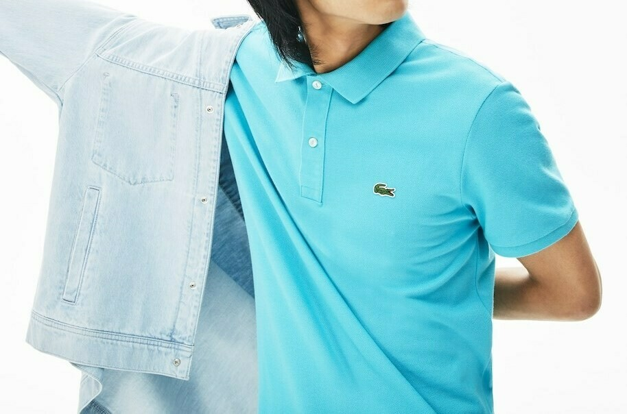 LACOSTE SLIM FIT POLO SHIRT IN PETIT PIQUE TURQUOISE