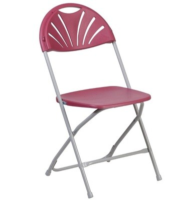 Chair Folding Burgundy Plastic