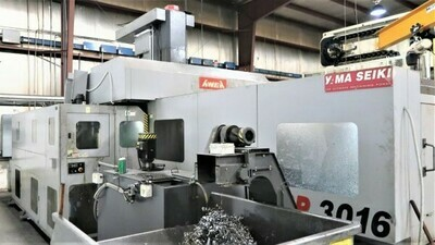 "1 – USED 59"" X 128"" AWEA SP-3016 BRIDGE TYPE DOUBLE COLUMN CNC VERTICAL MACHINING CENTER"