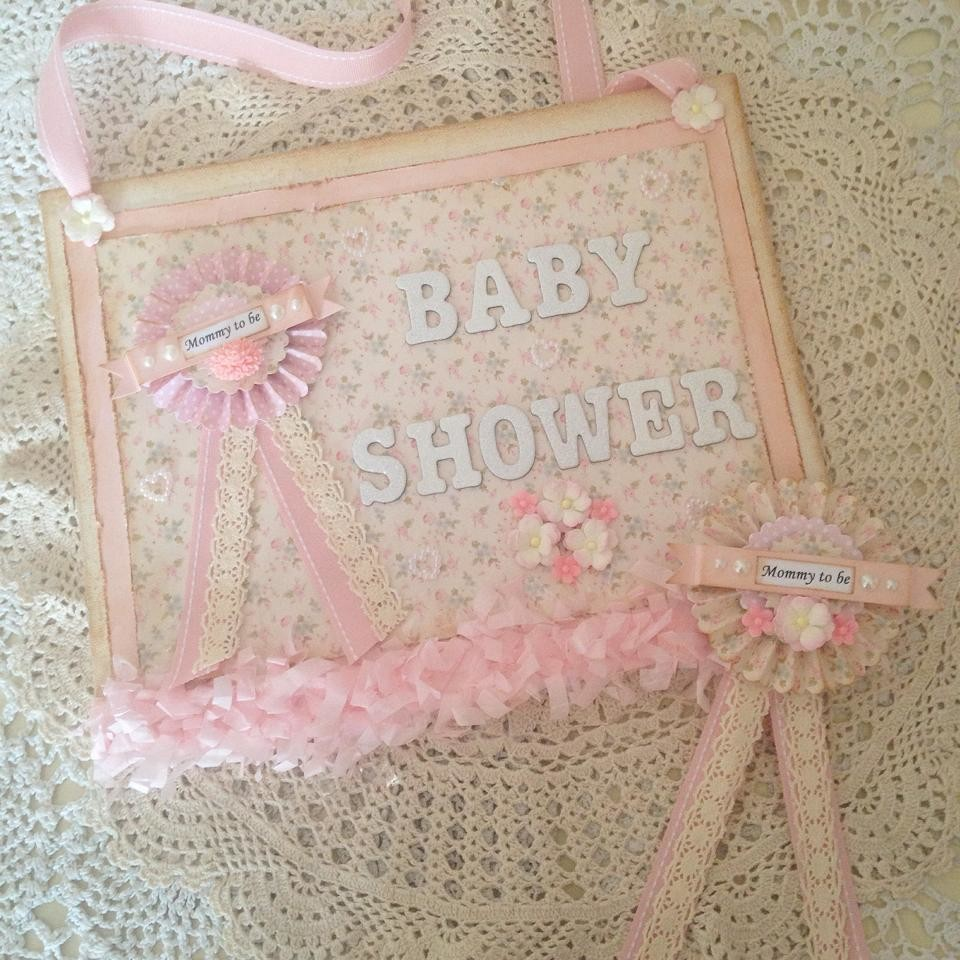 Pretty Pink Baby Shower Sign and Rosette Set