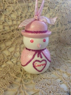 Sparkly Snow Lady Christmas Decoration - Pink