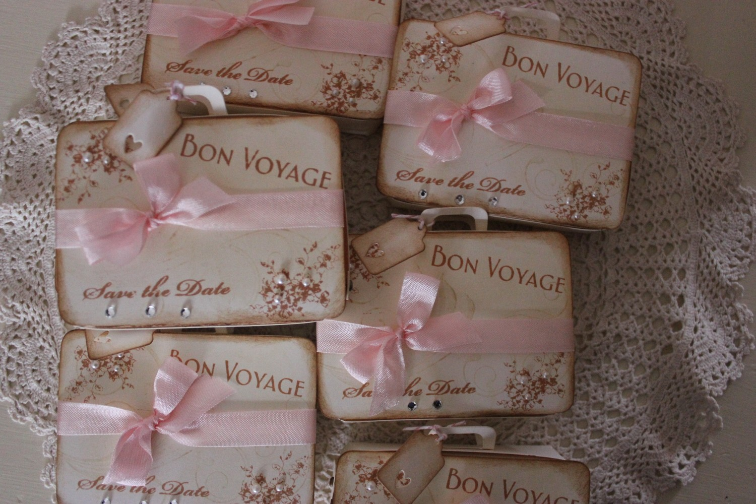 Vintage/Shabby chic Suitcase Save the Dates