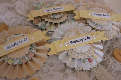 Baby Shower Rosette Style Badges