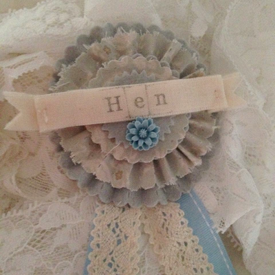 Hen Party Fabric and Felt Rosette Badge