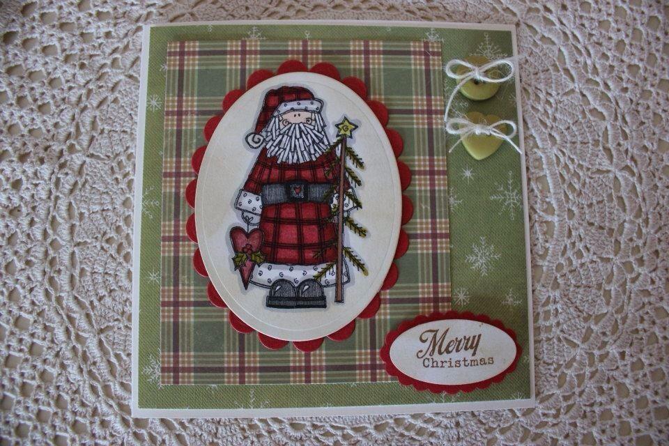 Folksy Santa Christmas Card
