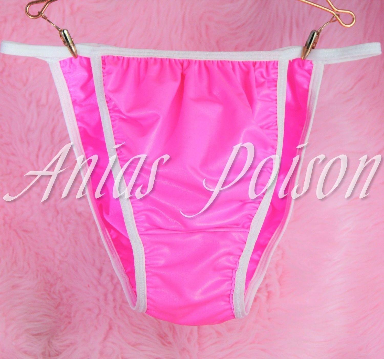 Hot Pink Vinyl Men's Humiliation Stretch string bikini Sissy naughty panties L -XL