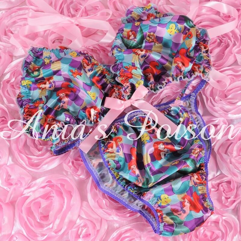 Ania's Poison MANties S - XXL Mermaid Princess Prints Super Rare 100% polyester string bikini sissy mens underwear panties/ Bra / Set