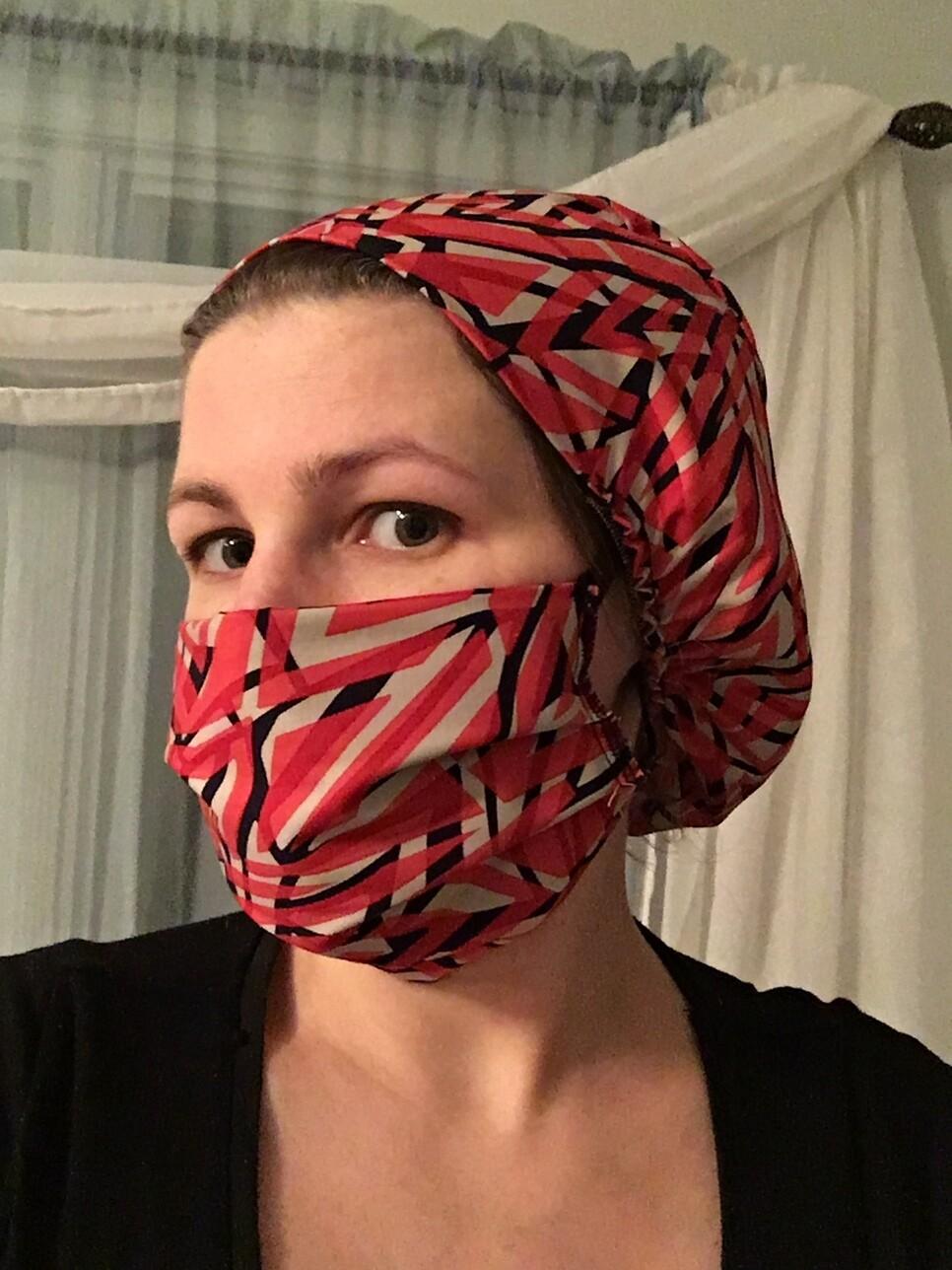 Cotton reusable Long Hair Nurse Doctor Slouch hat/ Scrub Cap Bonnet