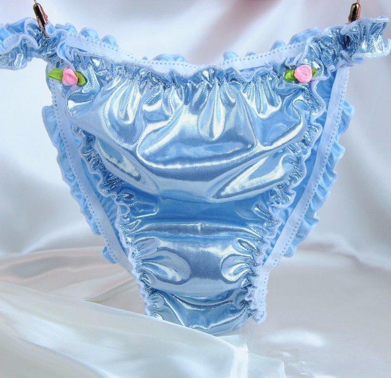 Custome Made MANties  S M L XL XXL metallic shiny FOIL Ruffled string bikini sissy mens panties