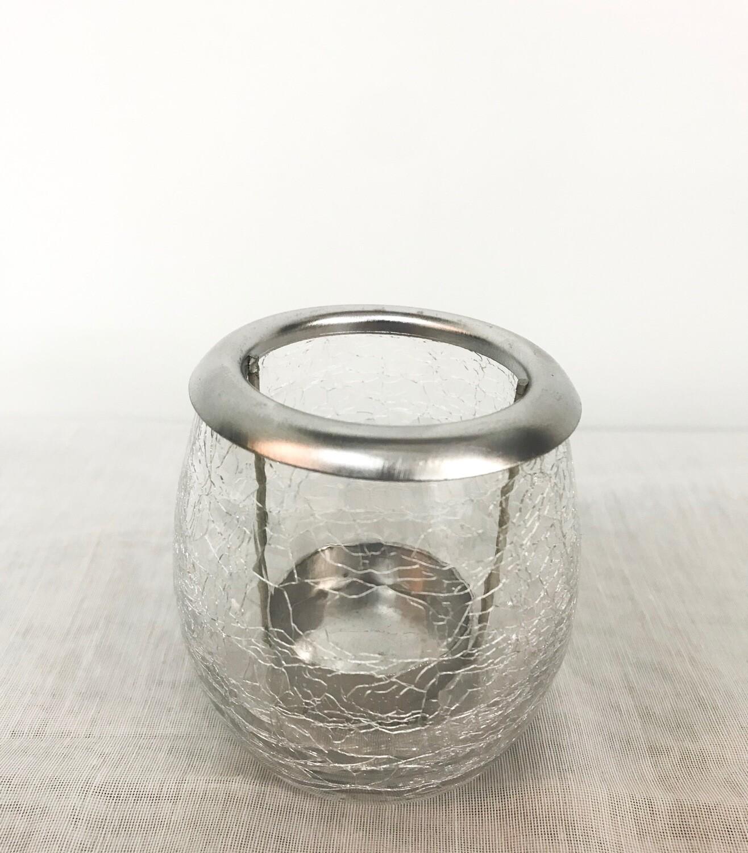 Votive Holder - Crackle Design with Silver Rim