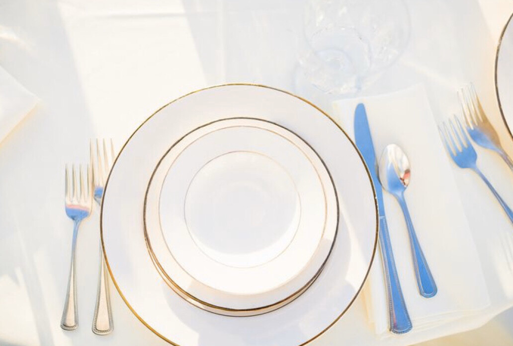Plate- Ivory with Gold Trim Saucer