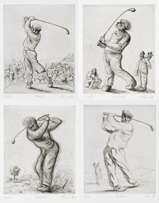 Peter Howson Golf Etchings Full Collection