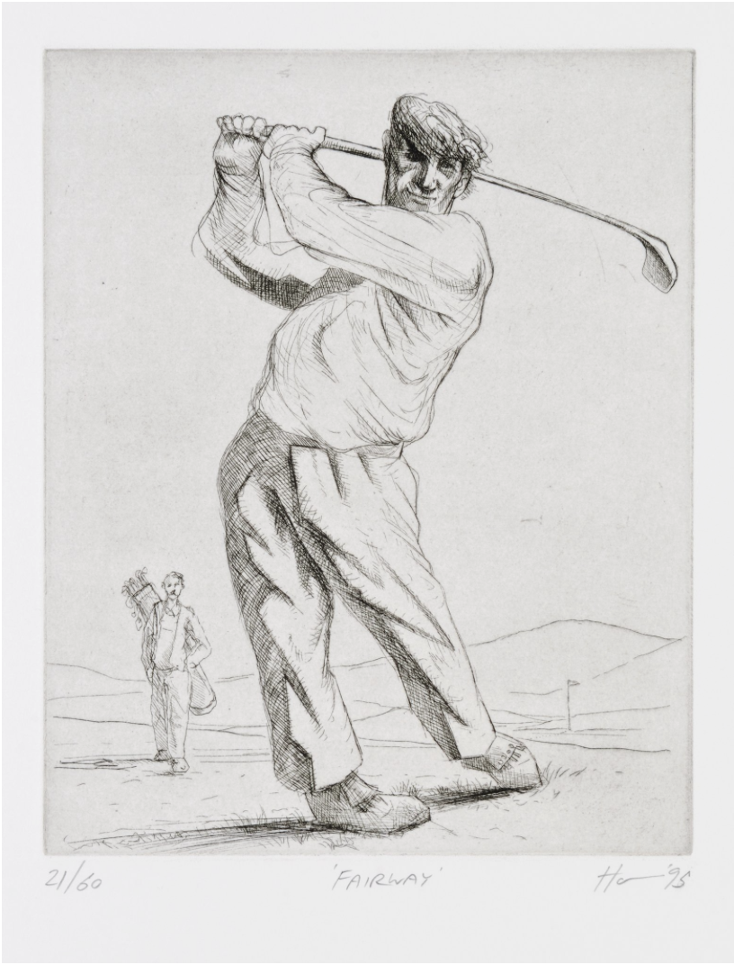Peter Howson Golf Etching 'Fairway' 1995
