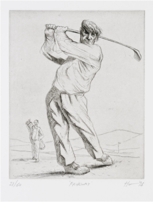 Peter Howson Golf Etching 'Fairway' 1995