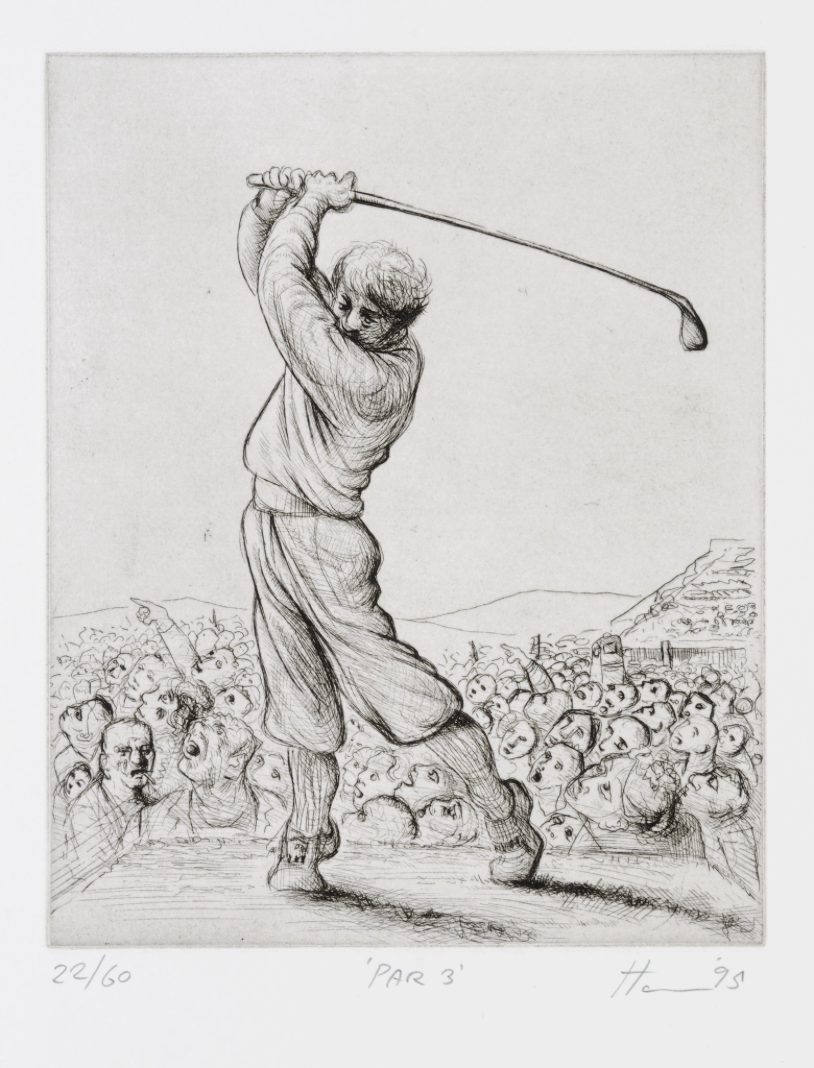 Peter Howson Golf Etching 'Par 3' 1995