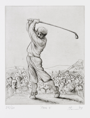 Peter Howson Golf Etching 'Par 3' 1995