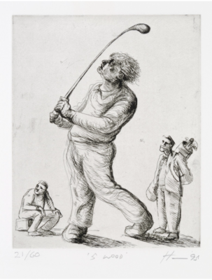 Peter Howson Golf Etching '5 Wood' 1995