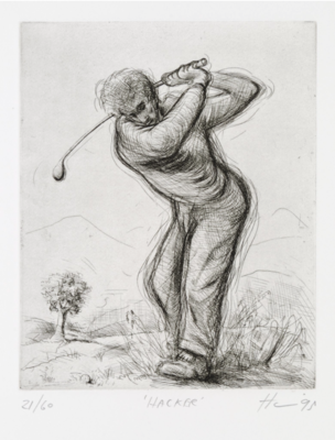 Peter Howson Golf Etching 'Hacker' 1995