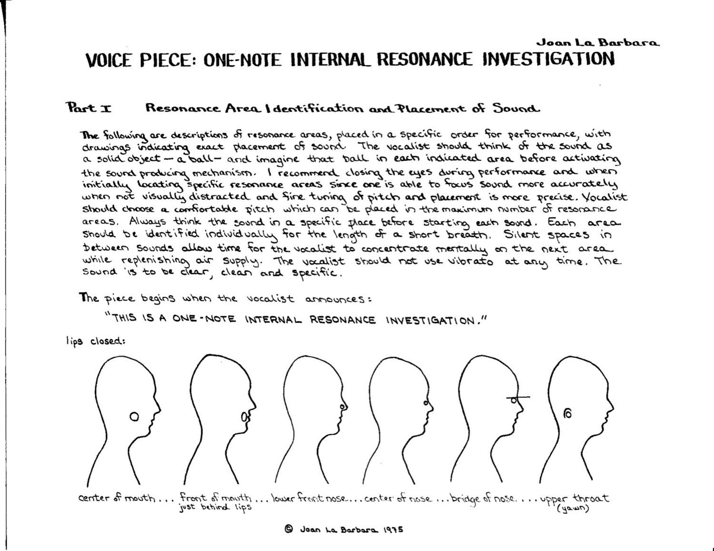 Voice Piece: One-Note Internal Resonance Investigation