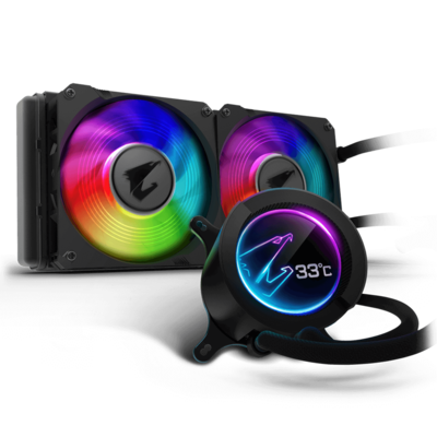 AORUS LIQUID COOLER 240, All-in-one Liquid Cooler with Circular LCD Display, RGB Fusion 2.0, Dual 120mm ARGB Fans