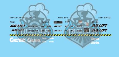 JLG Genie Aerial Lift S scale Decal Set
