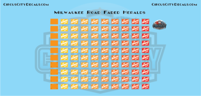 Milwaukee Road Faded Logos S Scale Decal Set