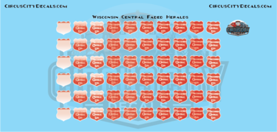 Wisconsin Central Faded Logos Heralds WC CN S Scale