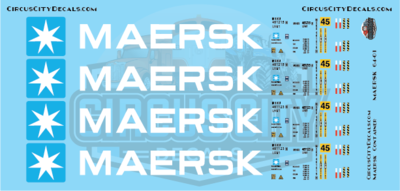 Maersk Container 45' S Scale Decal Set