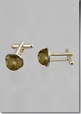 Hand blown glass with cremains cuff links