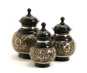 Black & Silver Engraved Urns