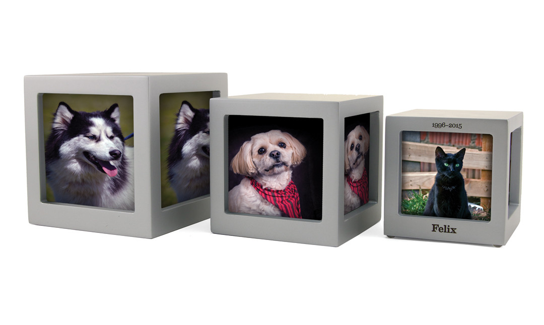 Photo Cube Urns - Silver, Violet and Navy