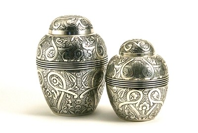 Silver Embossed Urns
