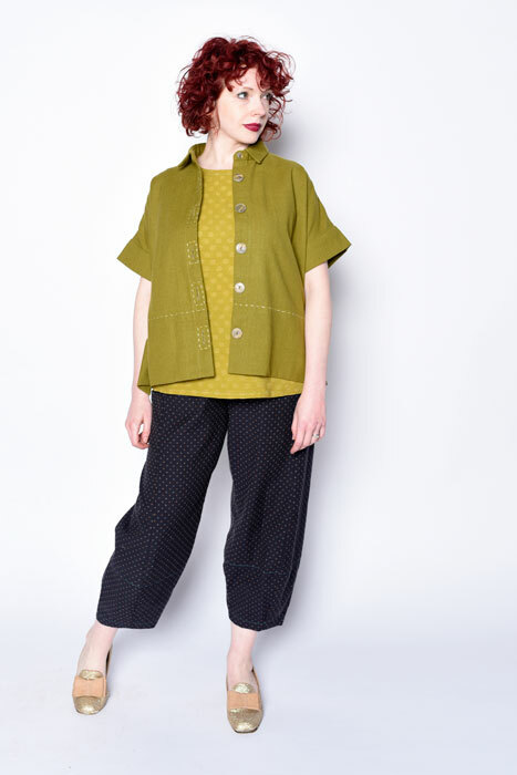 Cottage shirt made in a heavy woven cotton. Worn open over a MixIt Tank and Picasso Pants